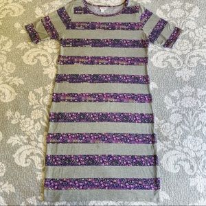 LuLaRoe Gray Purple Floral Striped Julia Dress
